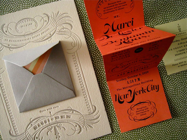 Wedding invitation set for Ben and Marci by Erin Jang